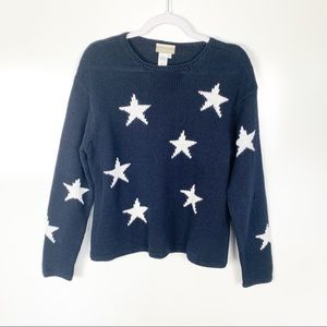 Coldwater Creek | Navy Stars Chunky Knit Sweater